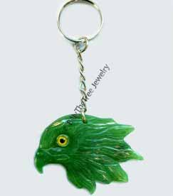 Jade Eagle Head Keychain