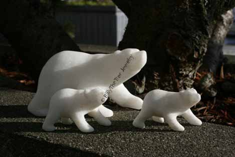 White Star Marble Polar Bear Family
