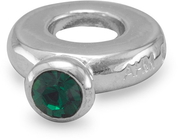 Ring Bead with Dark Green Crystal 925 Sterling Silver