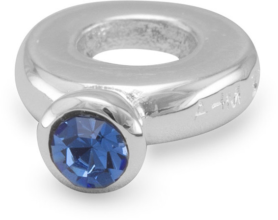 Ring Bead with Dark Blue Crystal 925 Sterling Silver