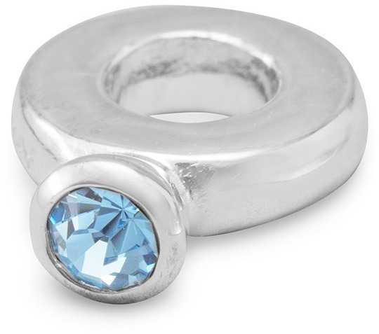 Ring Bead with Blue Crystal 925 Sterling Silver - DISCONTINUED