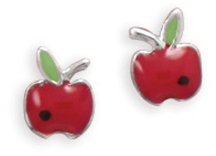 Tiny Rhodium Plated Red Epoxy Apple Earrings 925 Sterling Silver