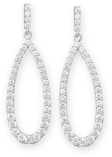 Rhodium Plated CZ Drop Earrings 925 Sterling Silver - DISCONTINUED