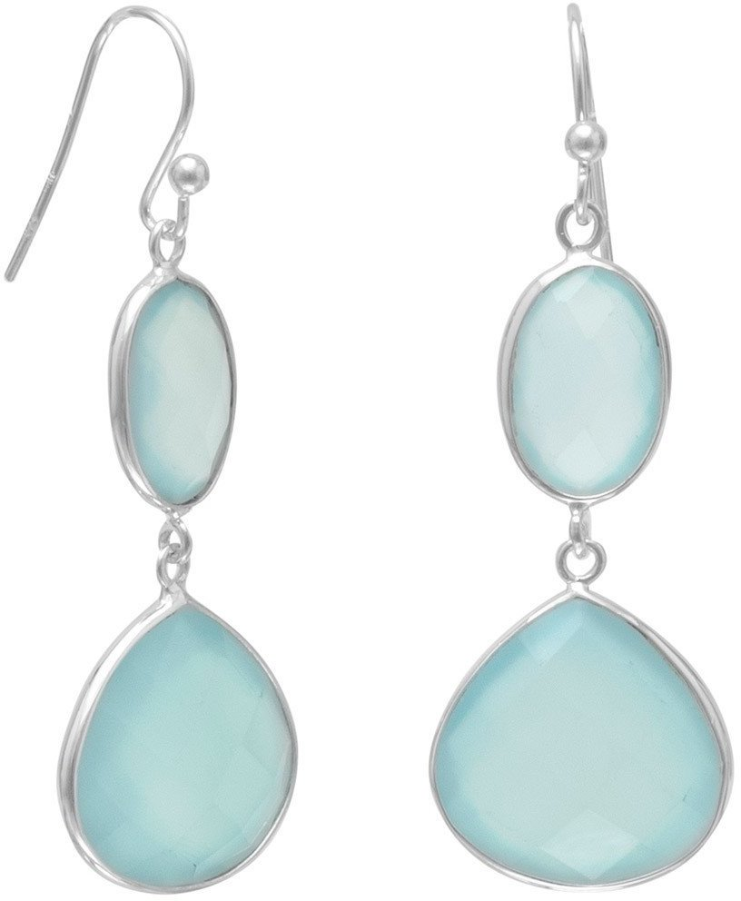 Sea Green Chalcedony Drop Earrings 925 Sterling Silver