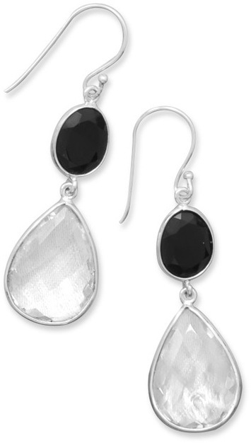 Black Onyx and Clear Quartz Drop Earrings 925 Sterling Silver