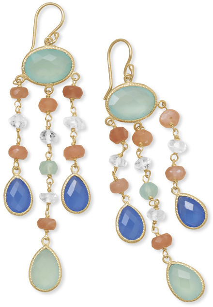 14 Karat Gold Plated Multistone Drop Earrings 925 Sterling Silver