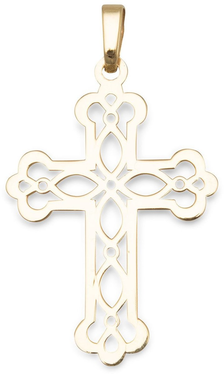 14 Karat Gold Plated Ornate Cross Pendant 925 Sterling Silver