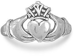 Oxidized Claddagh Ring 925 Sterling Silver