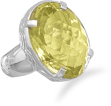 Faceted Lemon Quartz Ring 925 Sterling Silver