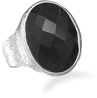 Oval Faceted Black Onyx Ring 925 Sterling Silver