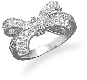 Rhodium Plated CZ Bow Ring 925 Sterling Silver