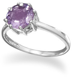 Rhodium Plated Amethyst Ring 925 Sterling Silver