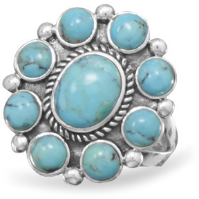 Oxidized Turquoise Ring 925 Sterling Silver