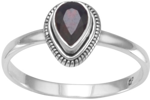 Oxidized Garnet Ring 925 Sterling Silver