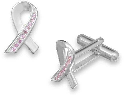 Pink CZ Awareness Ribbon Cuff Links 925 Sterling Silver