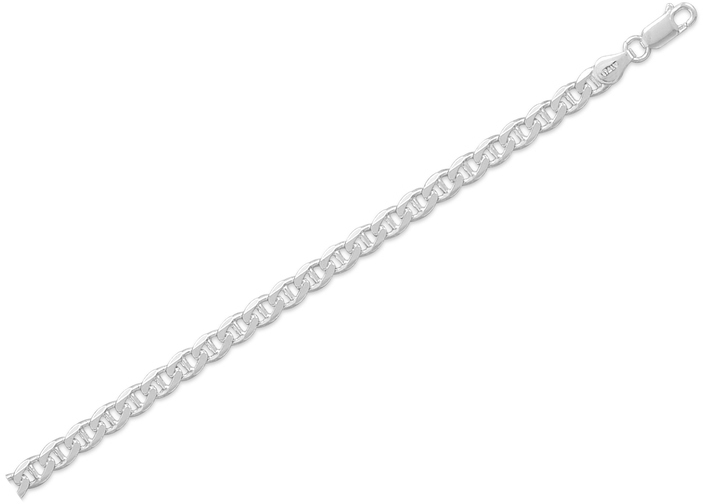 "18"" 120 Flat Marina Chain Necklace (4.4mm) 925 Sterling Silver"