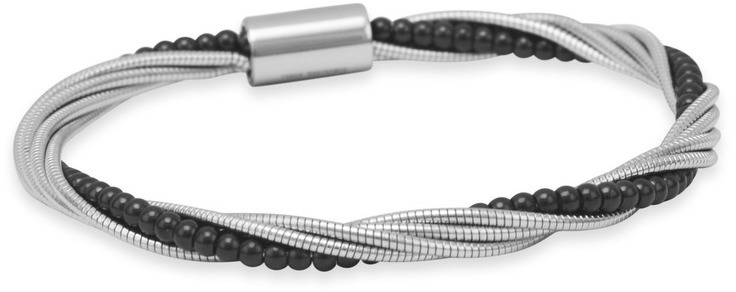 Twisted Stainless Steel Omega Bracelet with Black Tone Bead Chain