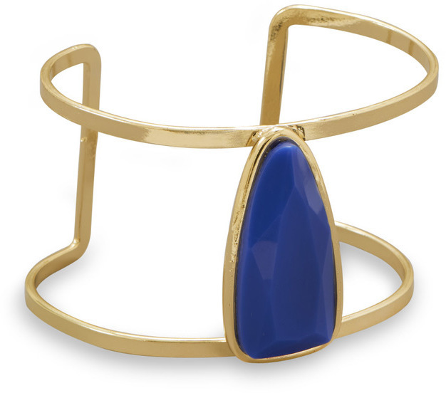 Gold Tone Fashion Cuff with Blue Tri Setting