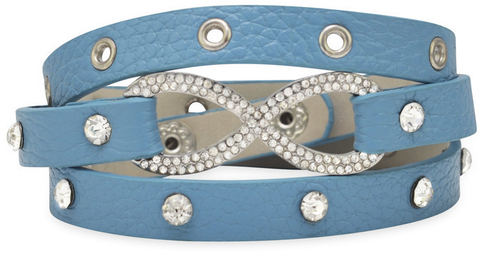 "7"" - 7.5"" Blue Leather Fashion Wrap Bracelet with Silver Tone Crystal Infinity Symbol"
