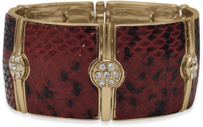 Red and Black Faux Snakeskin Stretch Fashion Bracelet