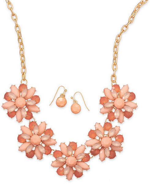 Peachy Keen Fashion Necklace and Earring Set