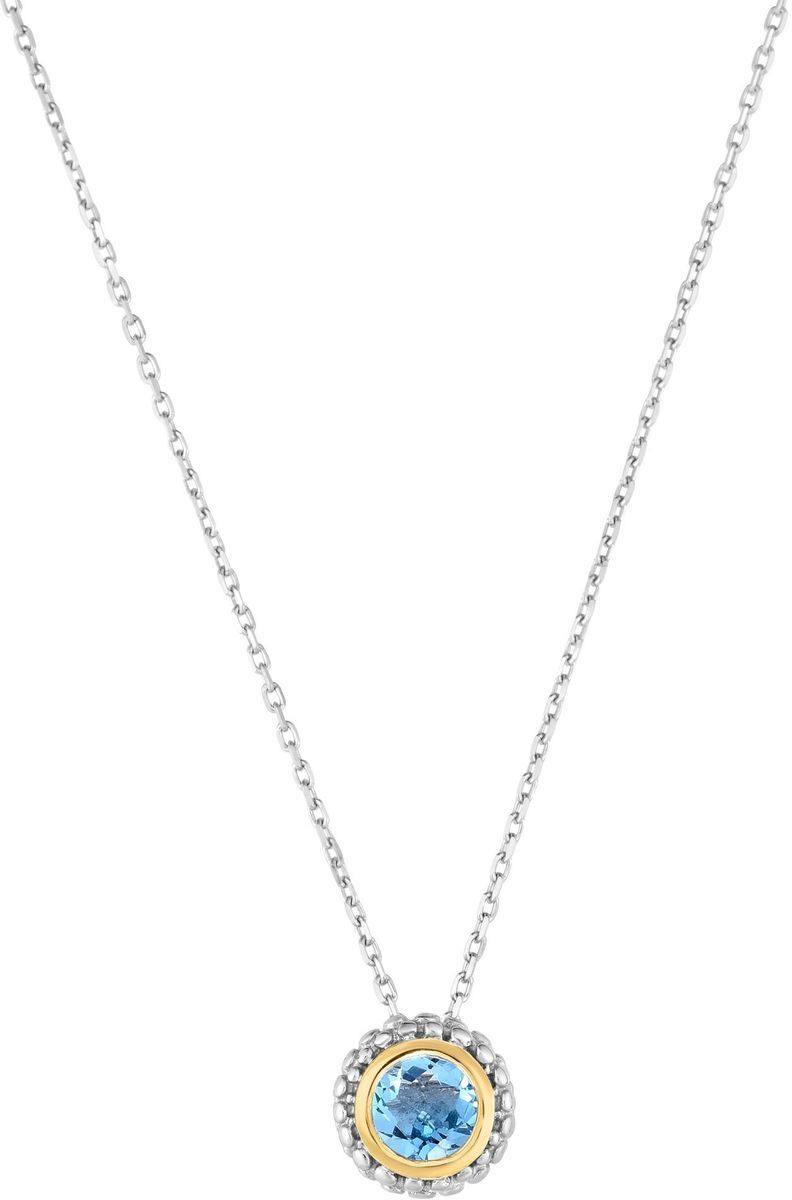 "Phillip Gavriel - 18"" 0.8mm Sterling Silver Cable Chain Necklace w/ 18K Yellow Gold Accent 8.7mm Round Slide Pendant & 0.49ctw Light Swiss Blue Topaz"