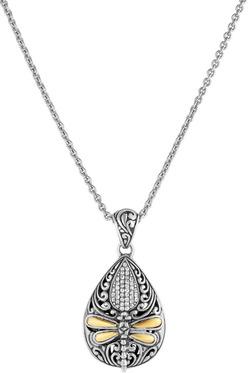 "Phillip Gavriel - 18"" Cable Chain Necklace w/ 18K Yellow Gold & Oxidized Sterling Silver Teardrop Pendant w/ Dragonfly & 0.16ctw White Sapphire"