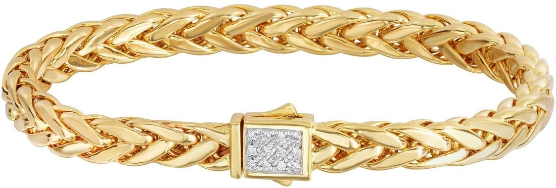 "Phillip Gavriel - 8.25"" 14K Yellow Gold Flat Weaved Braided Bracelet w/ 0.12ctw. Diamond"