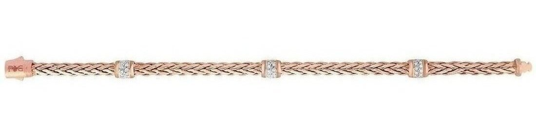 "Phillip Gavriel - 7.5"" 14K Rose Gold Plated Woven Braided Bracelet w/ Stationed 0.30ctw. Diamond"