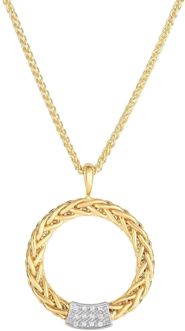 "Phillip Gavriel - 16"" 40x32mm 14K Yellow Gold Plated Open Weave Wheat Chain & w/ 0.12ctw. Diamond Pendant"