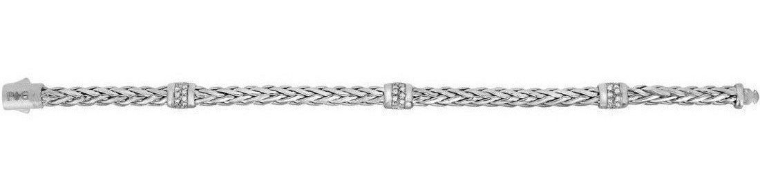 "Phillip Gavriel - 7.5"" 14K White Gold Plated Woven Braided Bracelet w/ Stationed 0.30ctw. Diamond"