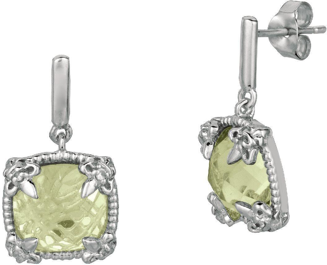 Phillip Gavriel - Sterling Silver Green Amethyst & White Sapphire Drop Earrings