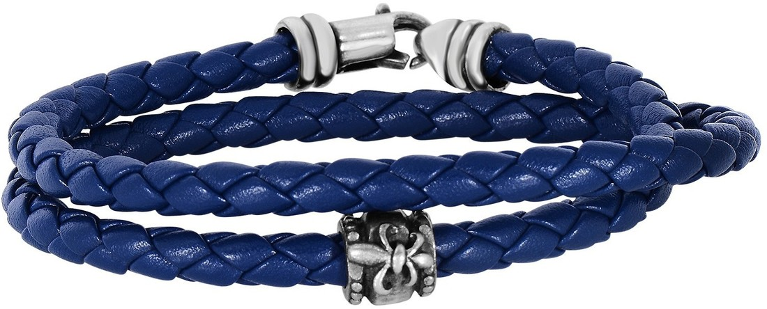 "Phillip Gavriel - 8"" 4mm Navy Blue Leather Round Wrap Bracelet w/ Oxidized Sterling Silver Fleur De Lis"