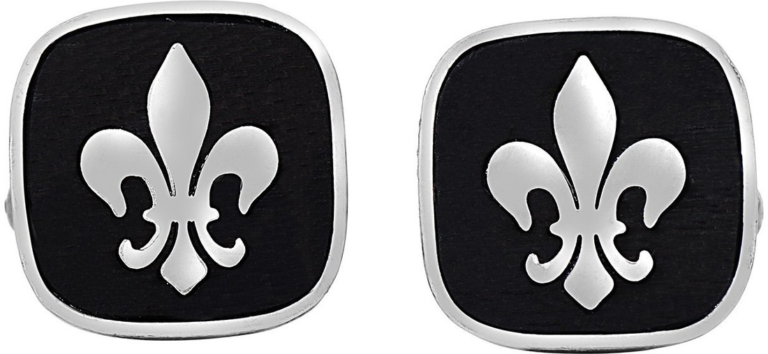 Phillip Gavriel - 17.4mm Oxidized Black Sterling Silver Square Cuff Links w/ White Fleur De Lis Insert