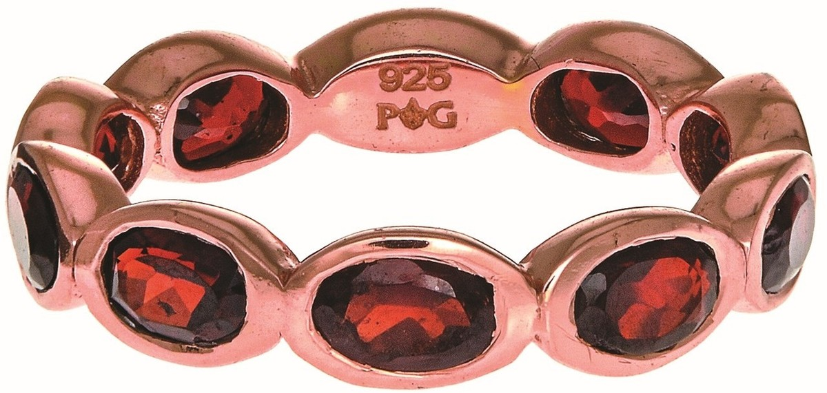 Phillip Gavriel - Rose Gold Plated Sterling Silver Band Style Ring w/ 3.30ct. Garnet - DISCONTINUED