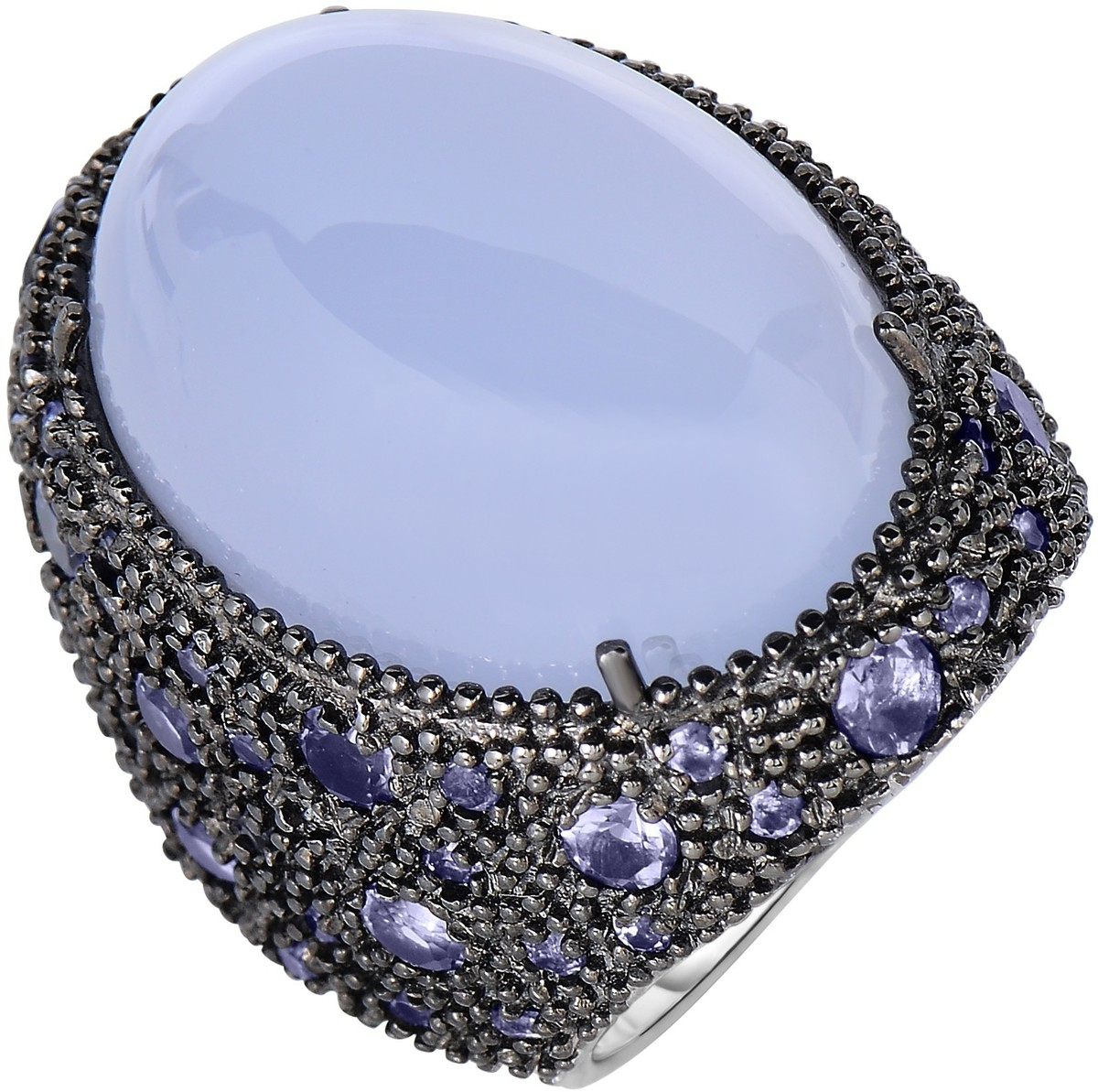 Phillip Gavriel - 30-5.5mm Rhodium Plated Sterling Silver Ring w/ 23.2x16.7mm Oval Cabochon 32ct. Blue Chalcedony - DISCONTINUED
