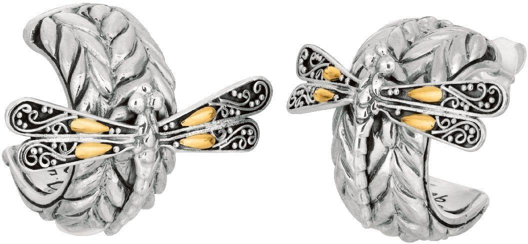 Phillip Gavriel - 18K Yellow Gold & Sterling Silver Oxidized Dragonfly Semi-Round Post Earrings