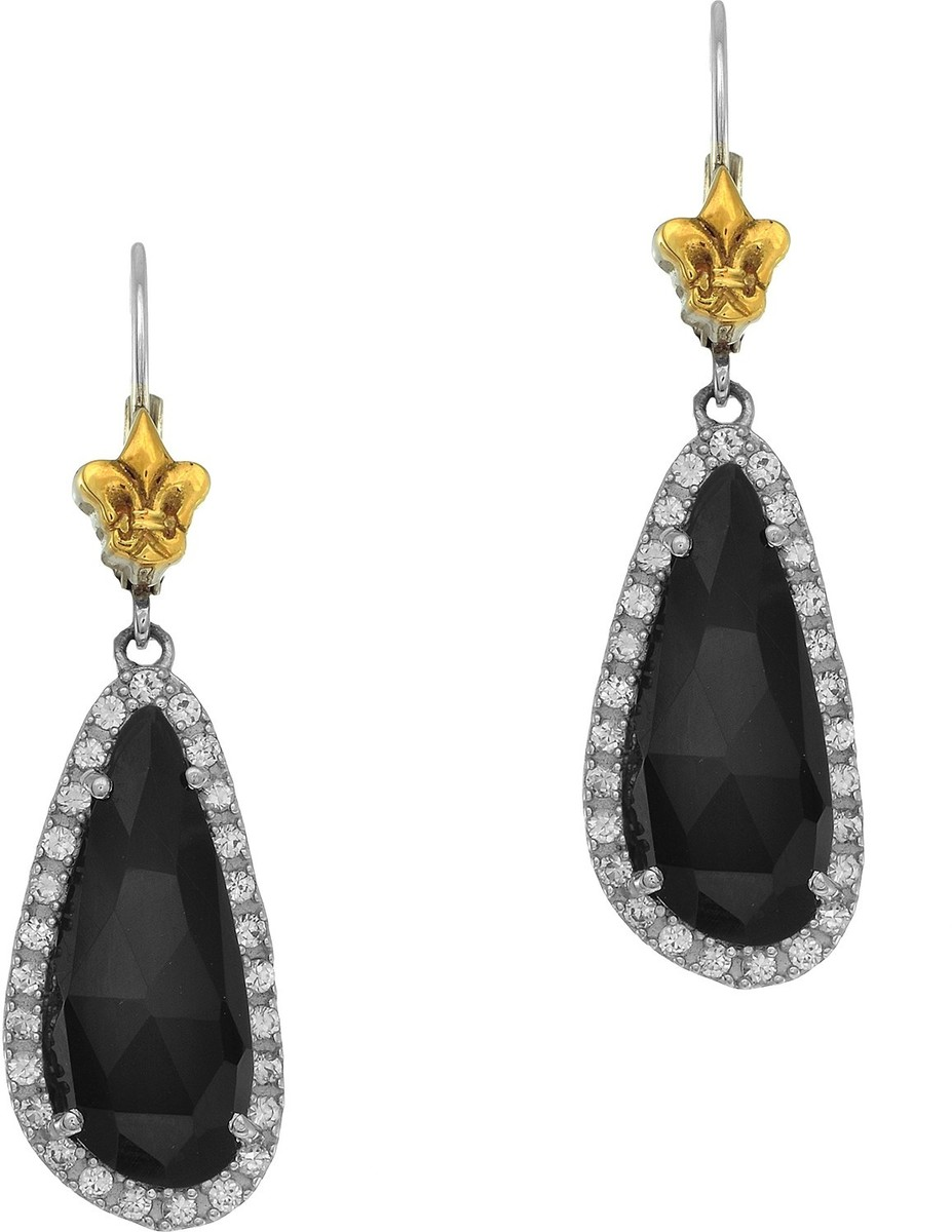 Phillip Gavriel - 12.8X42mm 18K Yellow Gold & Rhodium Plated Sterling Silver Onyx Earrings w/ White Synthetic Sapphire & Yellow Fleur De Lis Leverback