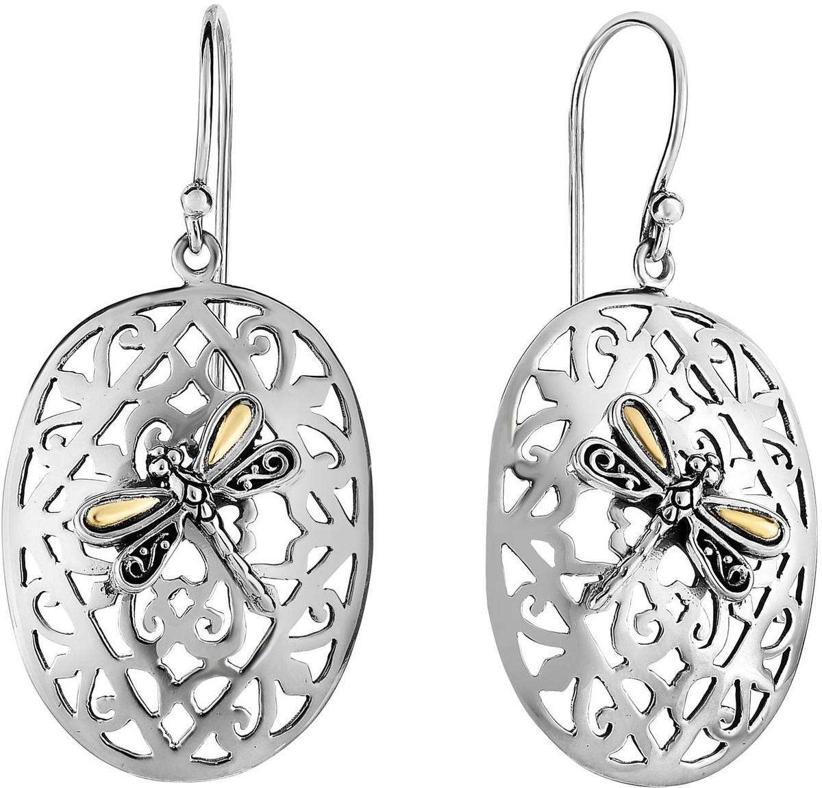 Phillip Gavriel - 21x45mm Oxidized Rhodium Plated Sterling Silver Oval Dragonfly Drop Earrings
