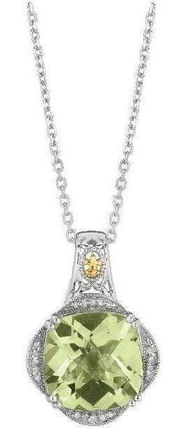 "Phillip Gavriel - 0.10ctw. Diamond & Green Amethyst 18K Yellow Gold & Sterling Silver 18"" Rock Candy Pendant on Rhodium Finish Link Chain"