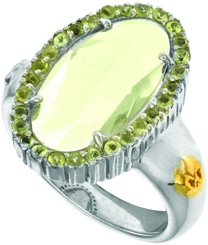 Phillip Gavriel - 18K Yellow Gold & Sterling Silver Oval Briolette Green Amethyst & Peridot Ring
