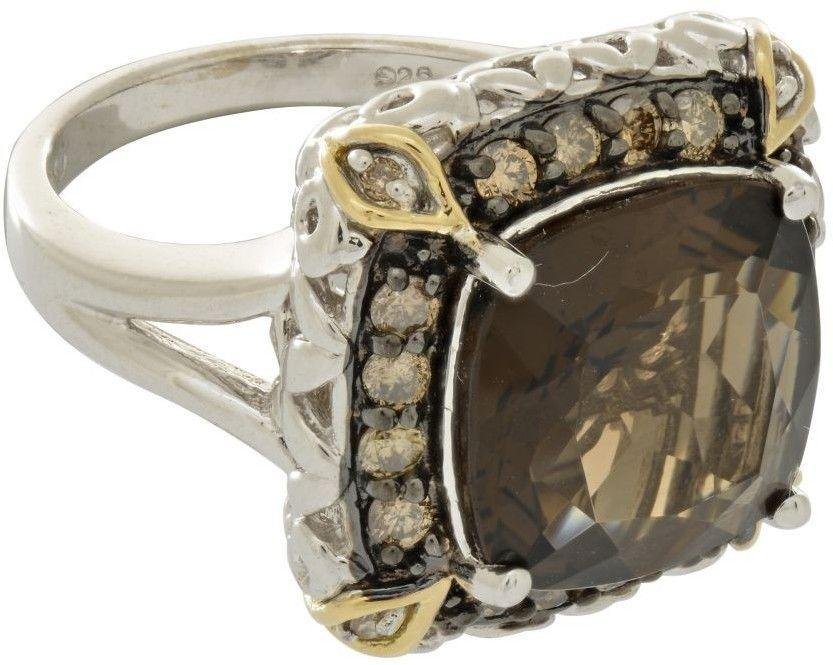 Phillip Gavriel - 18K Yellow Gold & Sterling Silver w/ Black & Rhodium Ring w/ 1-12.0mm Smoky Quartz & Diamond Accents - DISCONTINUED