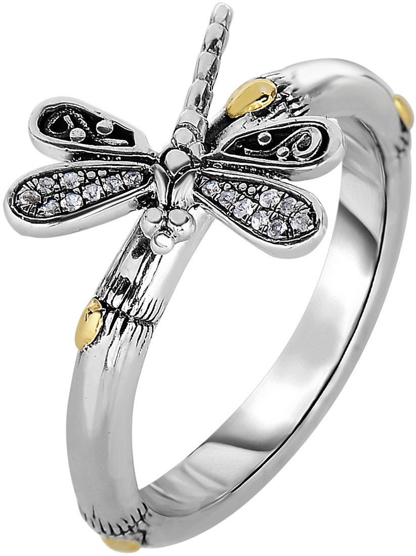 Phillip Gavriel - 18K Yellow Gold & Oxidized Sterling Silver Bamboo Dragonfly Ring w/ 14-2.9mm White Synthetic Sapphires