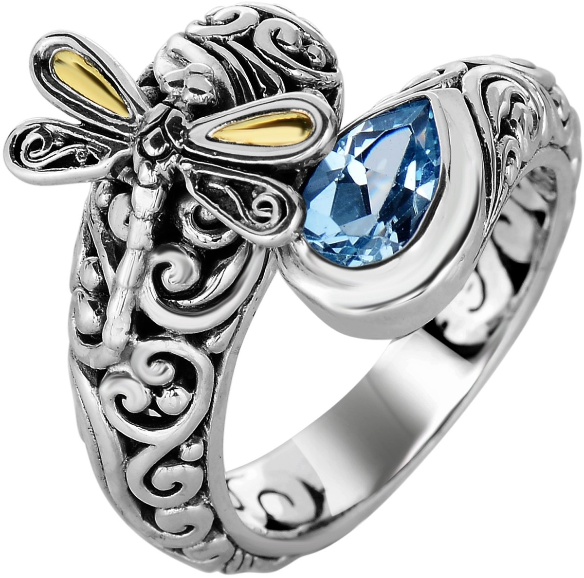 Phillip Gavriel - 18K Yellow Gold & Oxidized Sterling Silver Dragonfly Bypass Ring w/ 18-4.2mm Blue Topaz