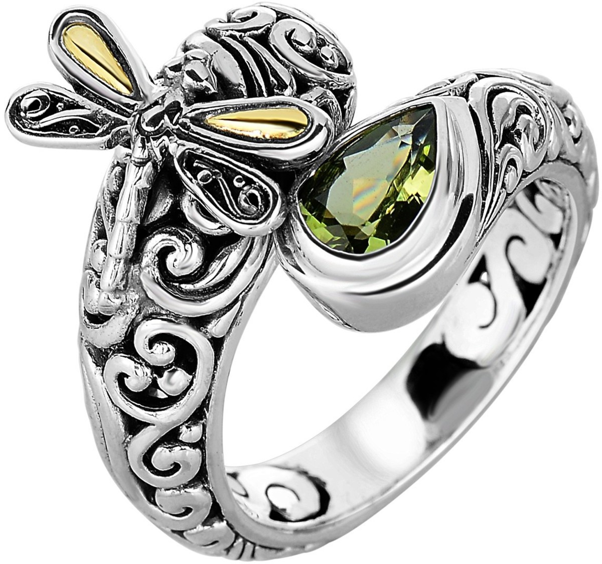 Phillip Gavriel - 18K Yellow Gold & Oxidized Sterling Silver Dragonfly Bypass Ring w/ 18-4.2mm Peridot