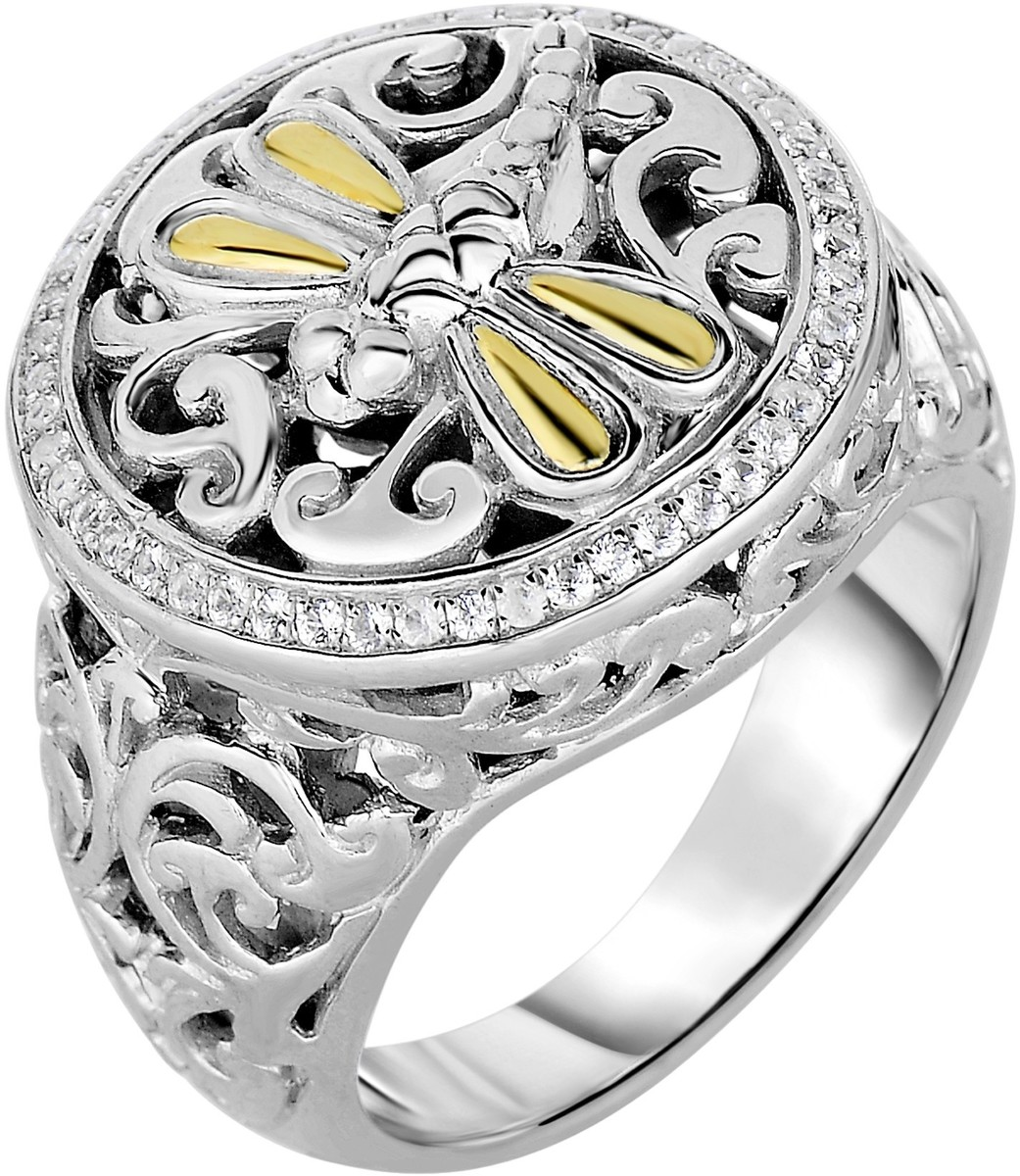 Phillip Gavriel - 18-3.7mm 18K Yellow Gold & Rhodium Plated Sterling Silver Flat Top Dragonfly Ring w/ White Synthetic Sapphire
