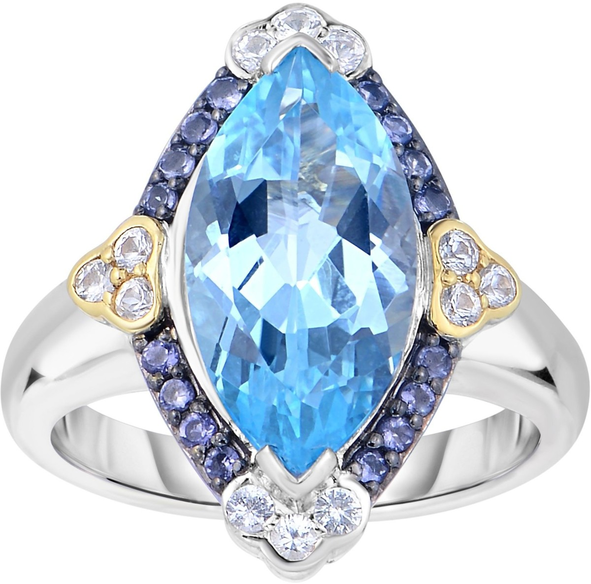 Phillip Gavriel - 18K Yellow Gold & Silver Marquise Sky Blue Topaz Ring w/ Rhodolite Garnet & White Synthetic Sapphire