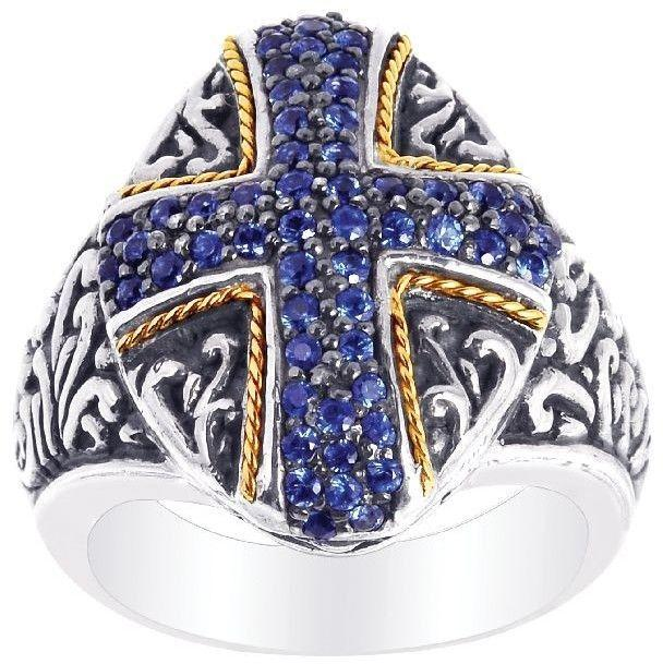 Phillip Gavriel - 18K Yellow Gold & Oxidized Sterling Silver Cross Theme Ring w/ Blue Synthetic Sapphire - DISCONTINUED