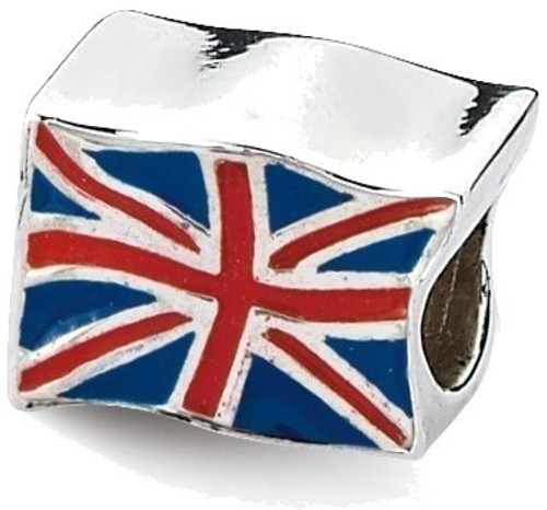 Sterling Silver Reflections United Kingdom Flag Bead
