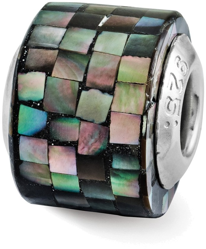 Sterling Silver Reflections Black Mother of Pearl Mosaic Bead QRS3181